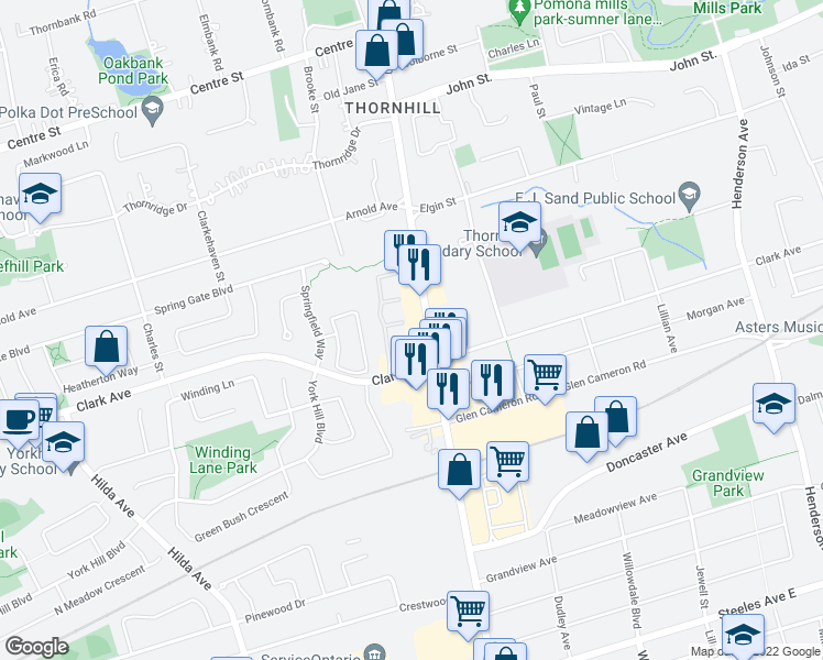 map of restaurants, bars, coffee shops, grocery stores, and more near 7378 Yonge Street in Vaughan