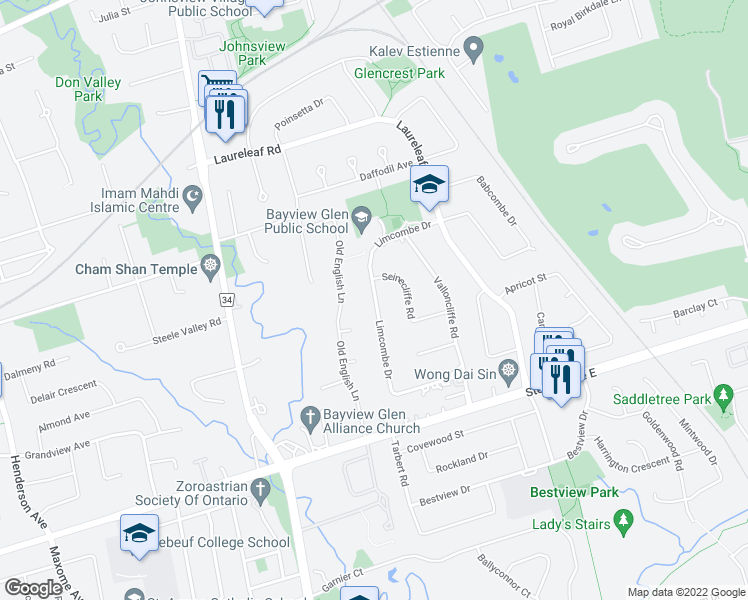 map of restaurants, bars, coffee shops, grocery stores, and more near 15 Seinecliffe Road in Markham