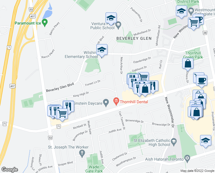 map of restaurants, bars, coffee shops, grocery stores, and more near 38 King High Drive in Vaughan