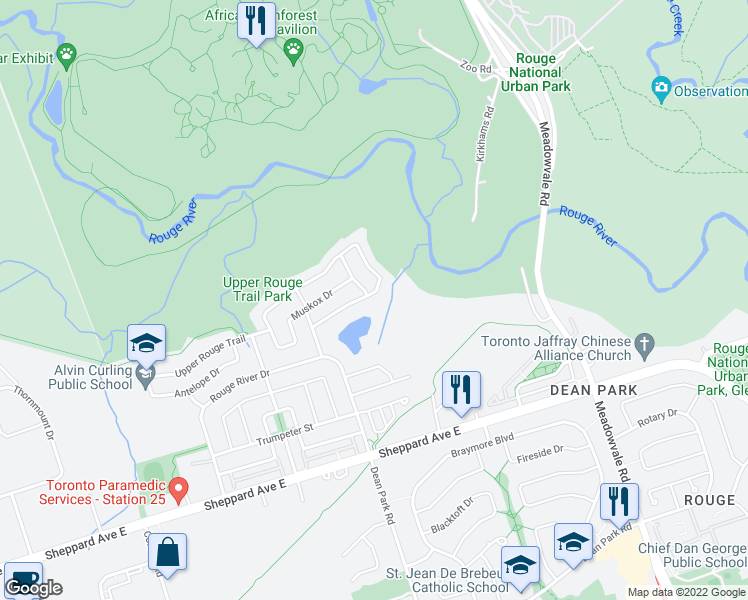 map of restaurants, bars, coffee shops, grocery stores, and more near 126 Meandering Trail in Toronto