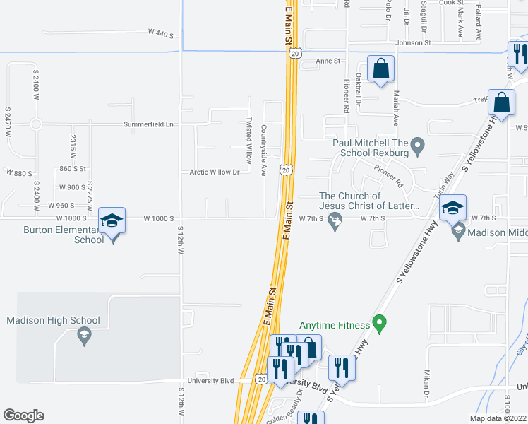 map of restaurants, bars, coffee shops, grocery stores, and more near 681 Countryside Avenue in Rexburg
