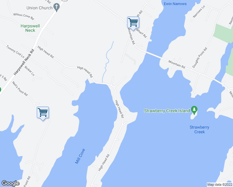 map of restaurants, bars, coffee shops, grocery stores, and more near 209 High Head Road in Harpswell