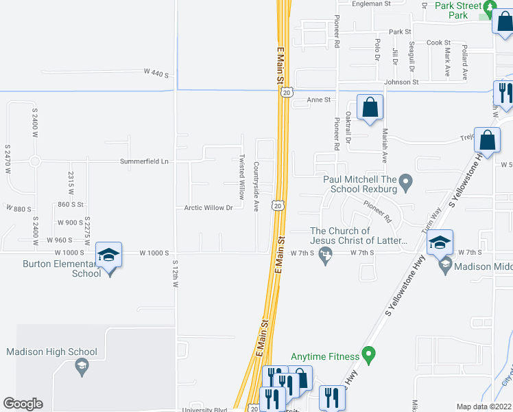 map of restaurants, bars, coffee shops, grocery stores, and more near 603 Countryside Avenue in Rexburg