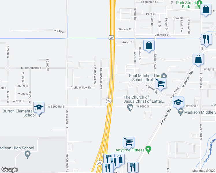 map of restaurants, bars, coffee shops, grocery stores, and more near U.S. 20 in Rexburg
