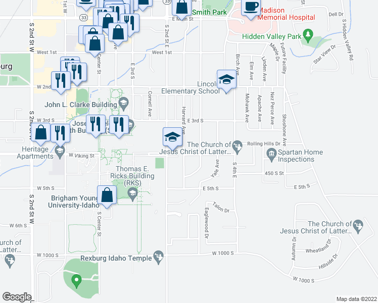 map of restaurants, bars, coffee shops, grocery stores, and more near 251 East 4th South in Rexburg