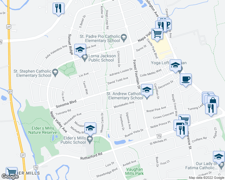 map of restaurants, bars, coffee shops, grocery stores, and more near Sonoma Boulevard in Vaughan