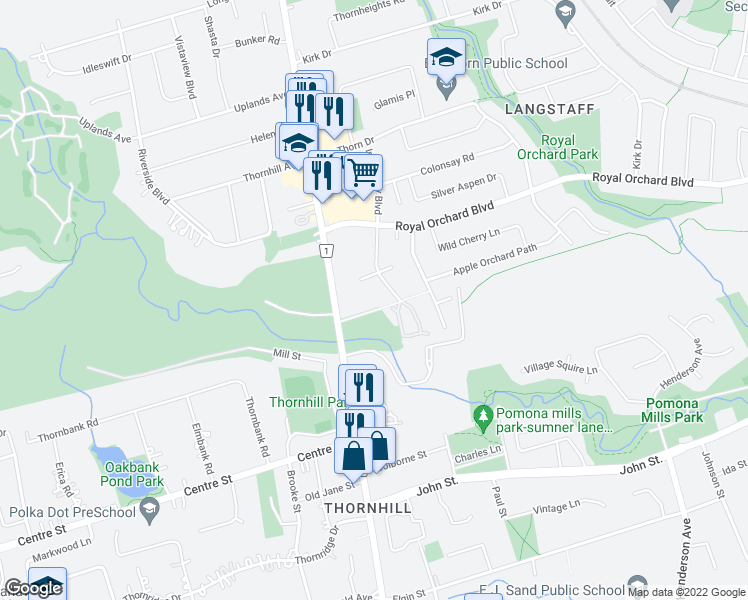 map of restaurants, bars, coffee shops, grocery stores, and more near 50 Inverlochy Boulevard in Markham