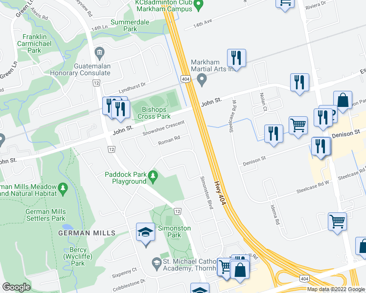 map of restaurants, bars, coffee shops, grocery stores, and more near 146 Simonston Boulevard in Markham