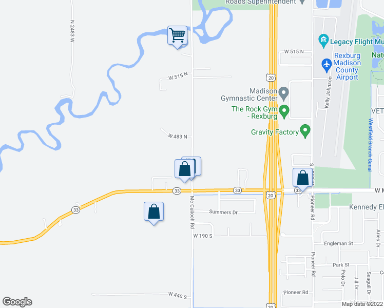 map of restaurants, bars, coffee shops, grocery stores, and more near 460 North 12th West in Rexburg