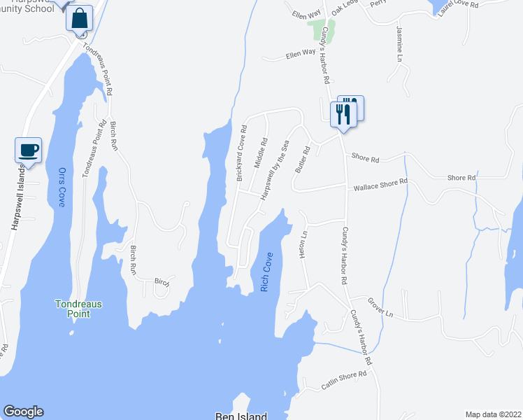 map of restaurants, bars, coffee shops, grocery stores, and more near 3 Lower Rich Cove Road in Harpswell