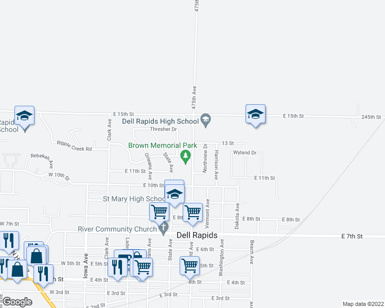 map of restaurants, bars, coffee shops, grocery stores, and more near 1205 Garfield Avenue in Dell Rapids