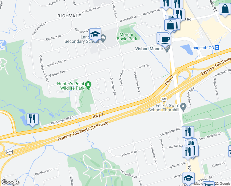 map of restaurants, bars, coffee shops, grocery stores, and more near 11 Dunvegan Drive in Richmond Hill