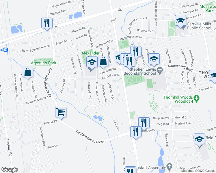 map of restaurants, bars, coffee shops, grocery stores, and more near 10 Lina Marra Drive in Vaughan