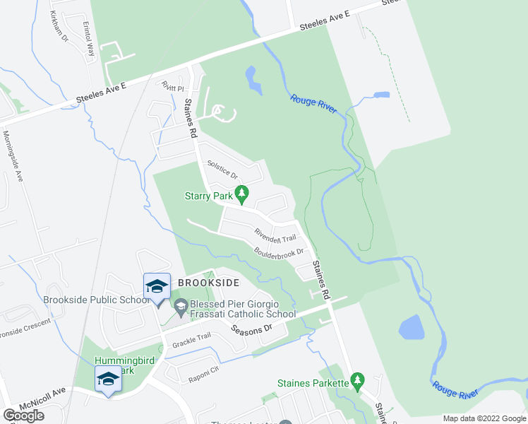 map of restaurants, bars, coffee shops, grocery stores, and more near 481 Staines Road in Toronto
