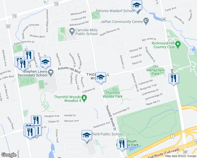 map of restaurants, bars, coffee shops, grocery stores, and more near Thornhill Woods Drive in Vaughan