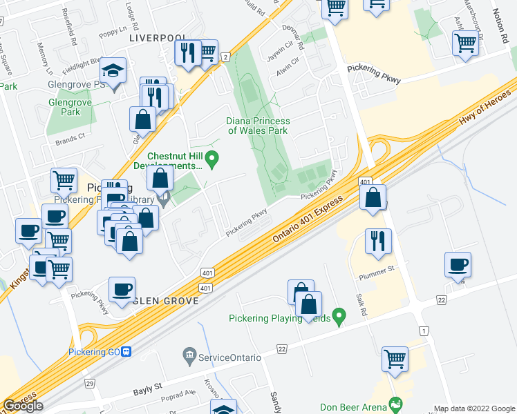 map of restaurants, bars, coffee shops, grocery stores, and more near 1540 Pickering Parkway in Pickering