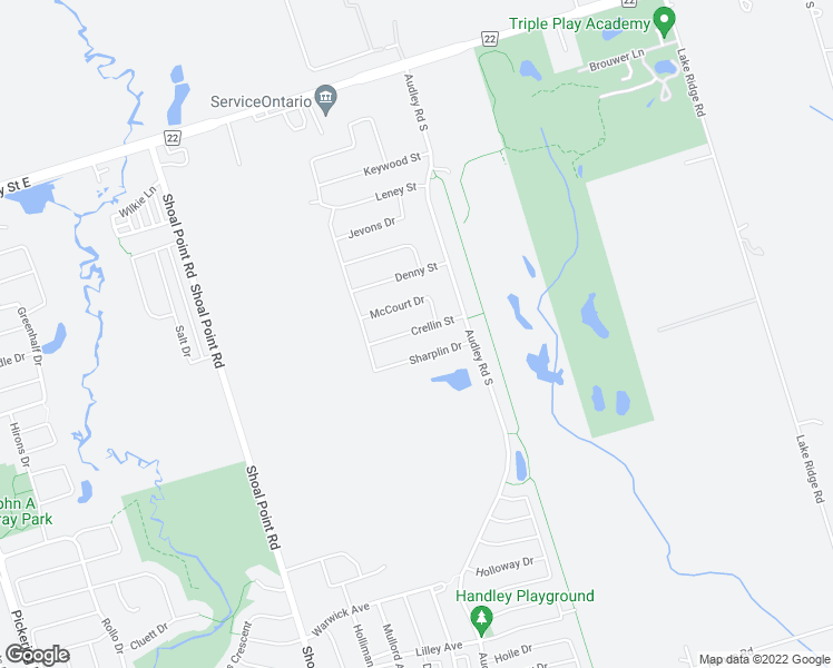 map of restaurants, bars, coffee shops, grocery stores, and more near 21 Crellin Street in Ajax