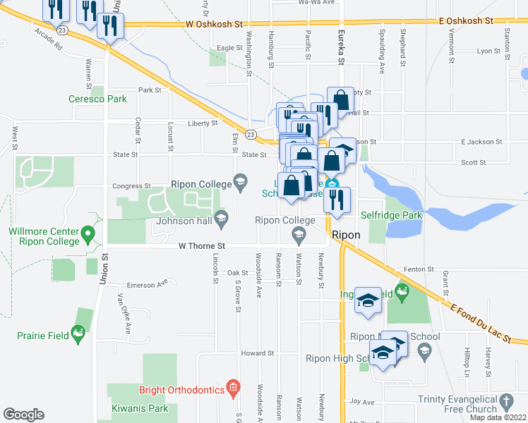 map of restaurants, bars, coffee shops, grocery stores, and more near 300 Seward Street in Ripon