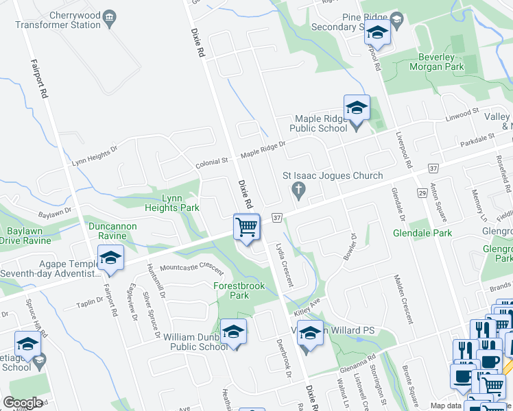 map of restaurants, bars, coffee shops, grocery stores, and more near 1148 Finch Avenue in Pickering