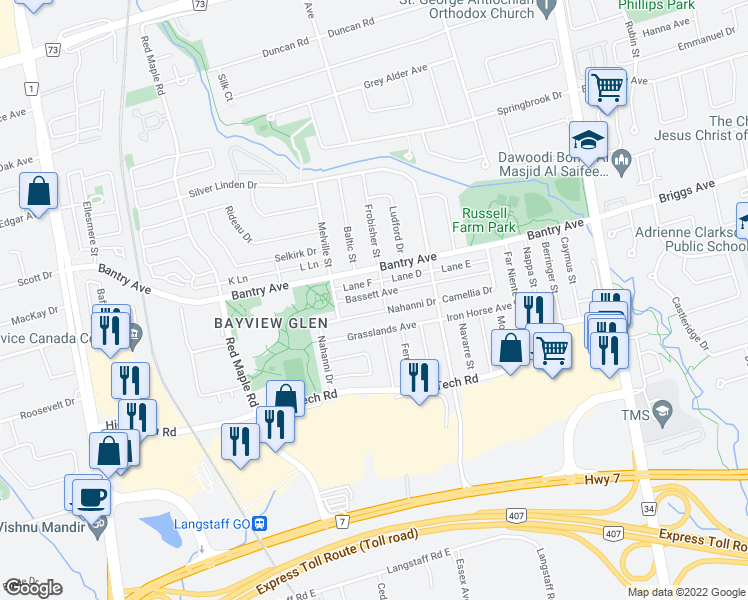 map of restaurants, bars, coffee shops, grocery stores, and more near 33 Bassett Avenue in Richmond Hill