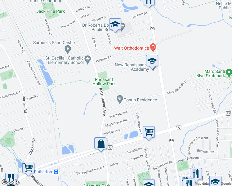 map of restaurants, bars, coffee shops, grocery stores, and more near 86 Maverick Crescent in Vaughan