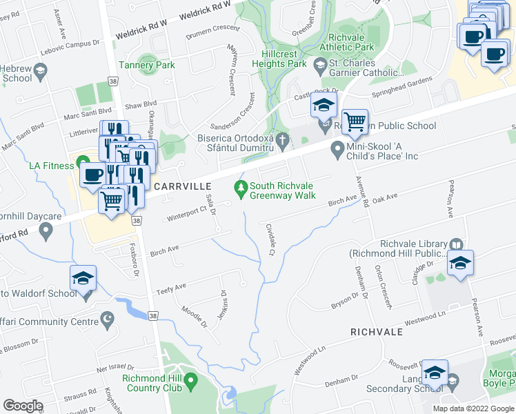 map of restaurants, bars, coffee shops, grocery stores, and more near 68 Birch Avenue in Richmond Hill