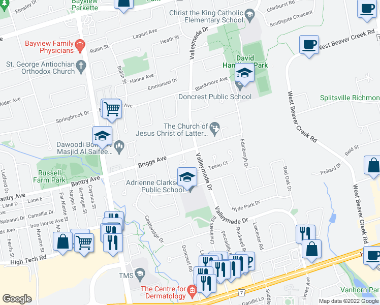 map of restaurants, bars, coffee shops, grocery stores, and more near 91 Briggs Avenue in Richmond Hill