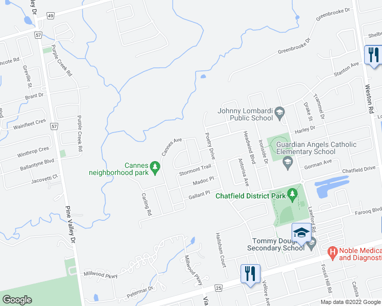 map of restaurants, bars, coffee shops, grocery stores, and more near 23 Rivoli Drive in Vaughan
