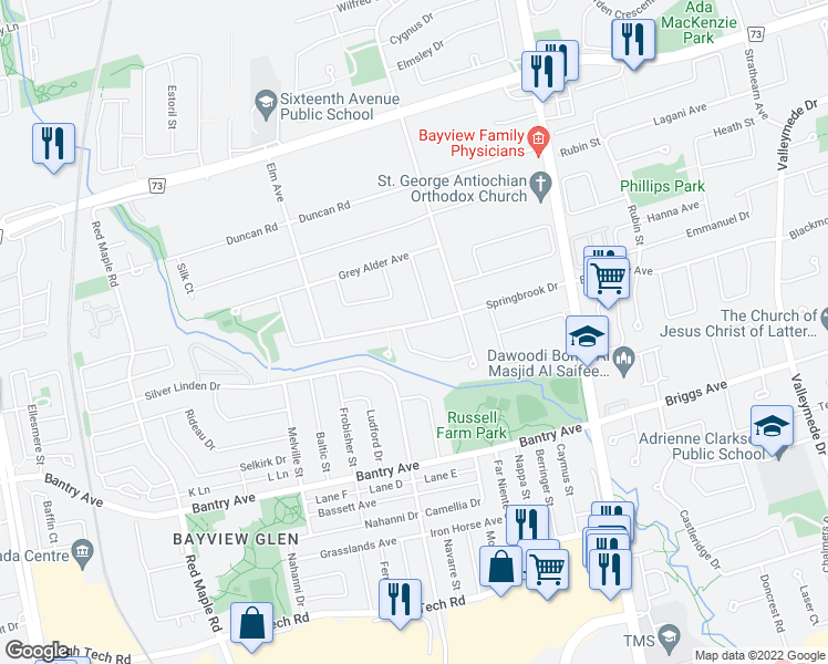 map of restaurants, bars, coffee shops, grocery stores, and more near 1 White Oak Crescent in Richmond Hill