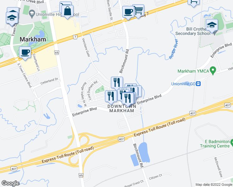 map of restaurants, bars, coffee shops, grocery stores, and more near 72 Upper Duke Crescent in Markham
