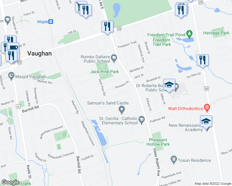 map of restaurants, bars, coffee shops, grocery stores, and more near 87 Ascalon Drive in Vaughan