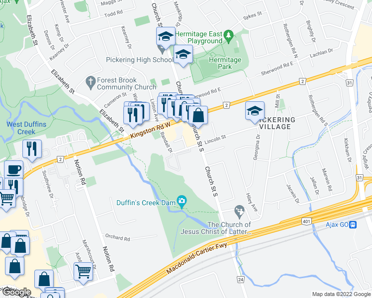 map of restaurants, bars, coffee shops, grocery stores, and more near 2 Randall Drive in Ajax