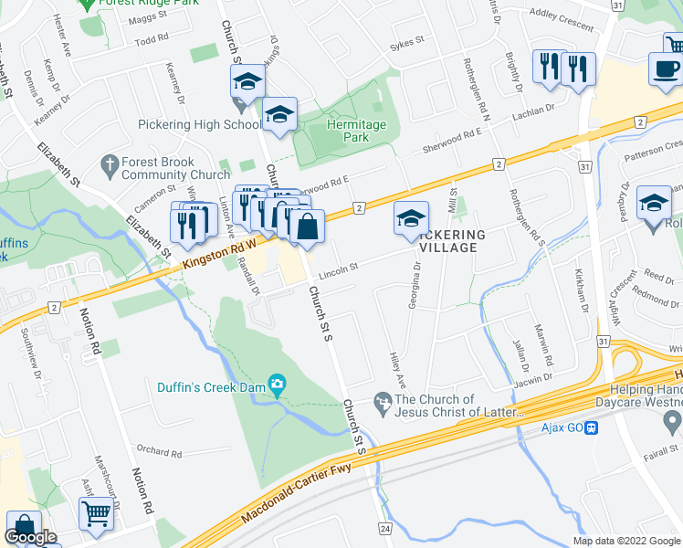 map of restaurants, bars, coffee shops, grocery stores, and more near 33 Lincoln Street in Ajax