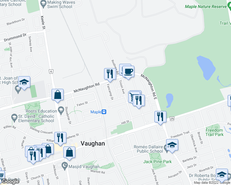 map of restaurants, bars, coffee shops, grocery stores, and more near 192 Salterton Circle in Vaughan