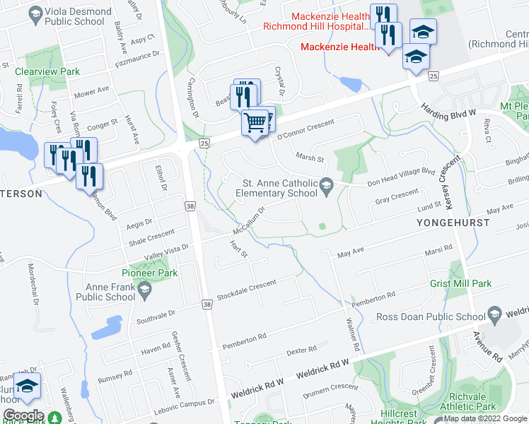 map of restaurants, bars, coffee shops, grocery stores, and more near 46 Tomlin Crescent in Richmond Hill