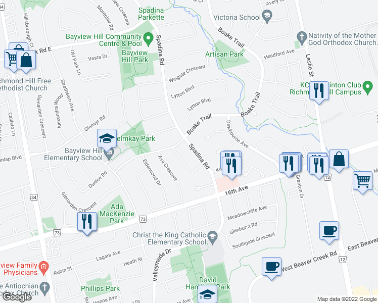 map of restaurants, bars, coffee shops, grocery stores, and more near 34 Spadina Road in Richmond Hill