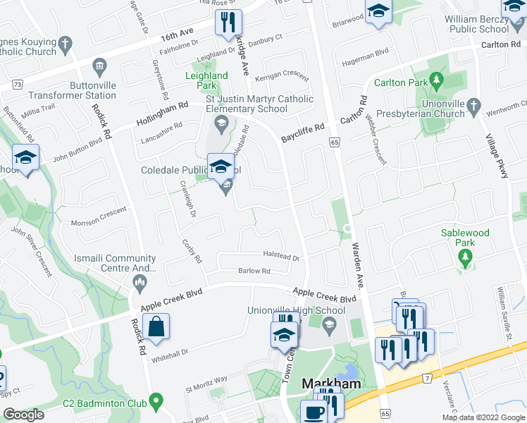 map of restaurants, bars, coffee shops, grocery stores, and more near 20 Coledale Road in Markham