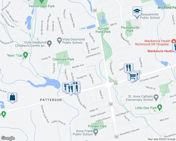 map of restaurants, bars, coffee shops, grocery stores, and more near 45 Hurst Avenue in Vaughan