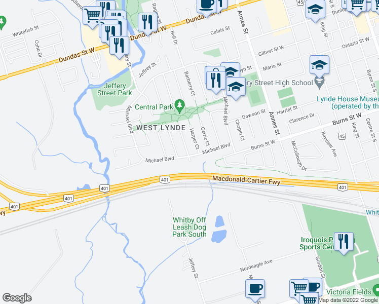 map of restaurants, bars, coffee shops, grocery stores, and more near 169 Michael Boulevard in Whitby
