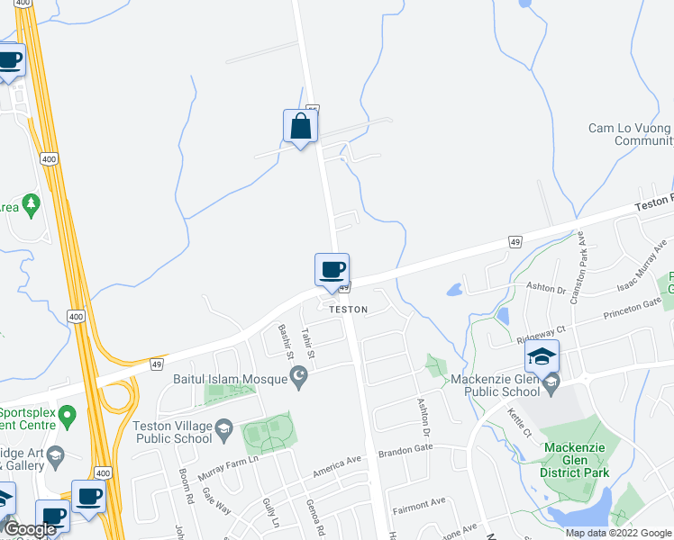 map of restaurants, bars, coffee shops, grocery stores, and more near Jane Street in Vaughan
