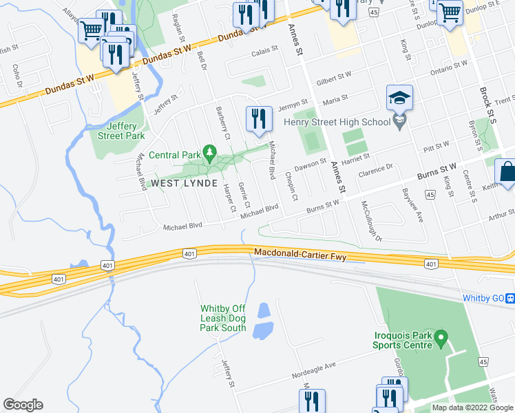 map of restaurants, bars, coffee shops, grocery stores, and more near 197 Michael Boulevard in Whitby