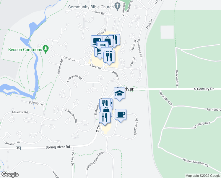 map of restaurants, bars, coffee shops, grocery stores, and more near 1 Peppermill Circle in Sunriver