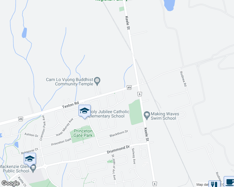 map of restaurants, bars, coffee shops, grocery stores, and more near 66 D'Amato Crescent in Vaughan
