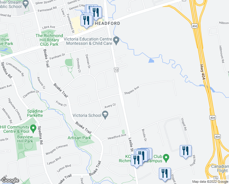 map of restaurants, bars, coffee shops, grocery stores, and more near 6 Greenhill Avenue in Richmond Hill