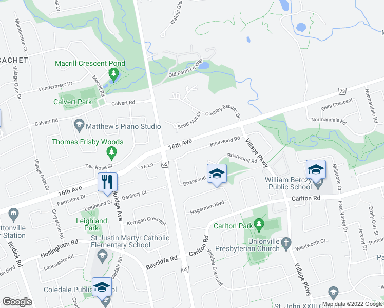 map of restaurants, bars, coffee shops, grocery stores, and more near 41 Briarwood Road in Markham
