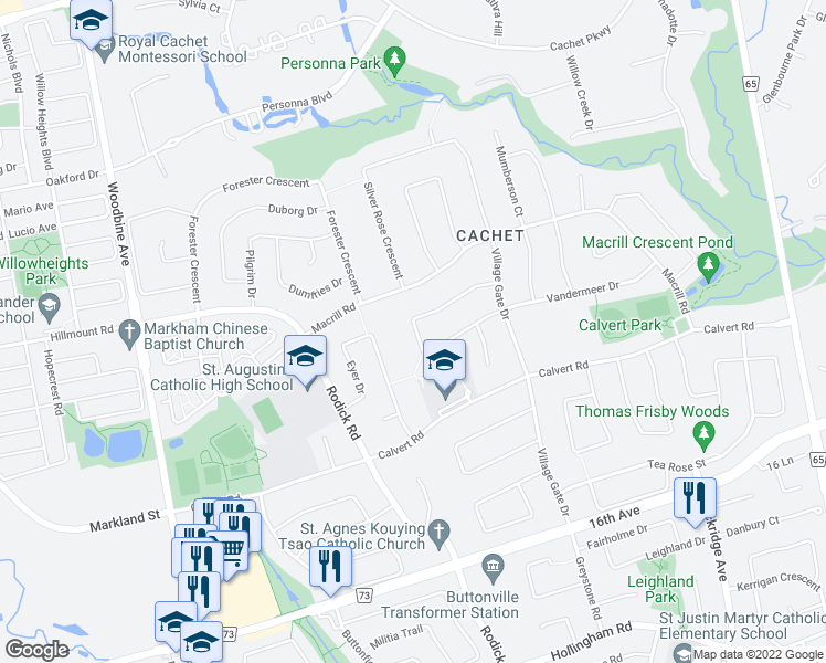 map of restaurants, bars, coffee shops, grocery stores, and more near 105 Golden Tulip Crescent in Markham