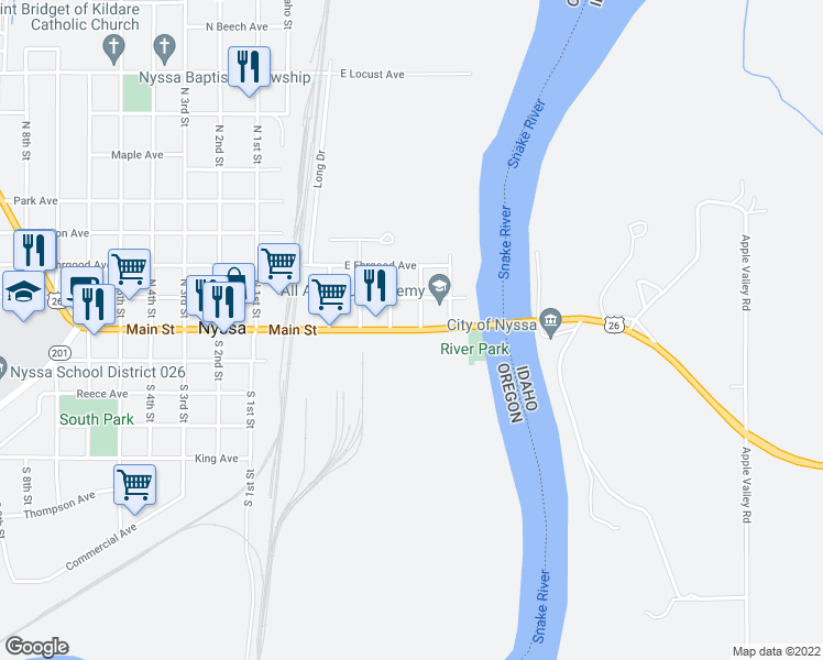 map of restaurants, bars, coffee shops, grocery stores, and more near East Main Street in Nyssa