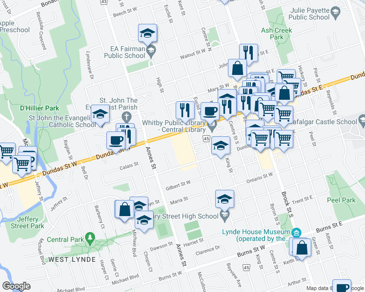 map of restaurants, bars, coffee shops, grocery stores, and more near 613 Dundas Street West in Whitby