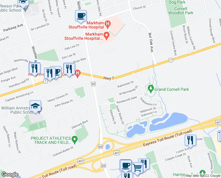 map of restaurants, bars, coffee shops, grocery stores, and more near 32 Lindcrest Manor in Markham