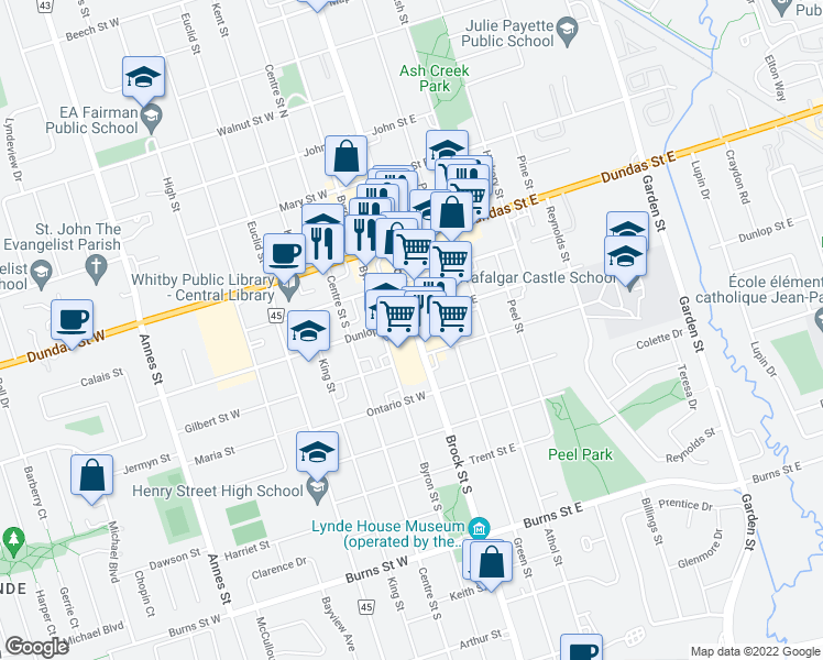 map of restaurants, bars, coffee shops, grocery stores, and more near 304 Brock Street South in Whitby